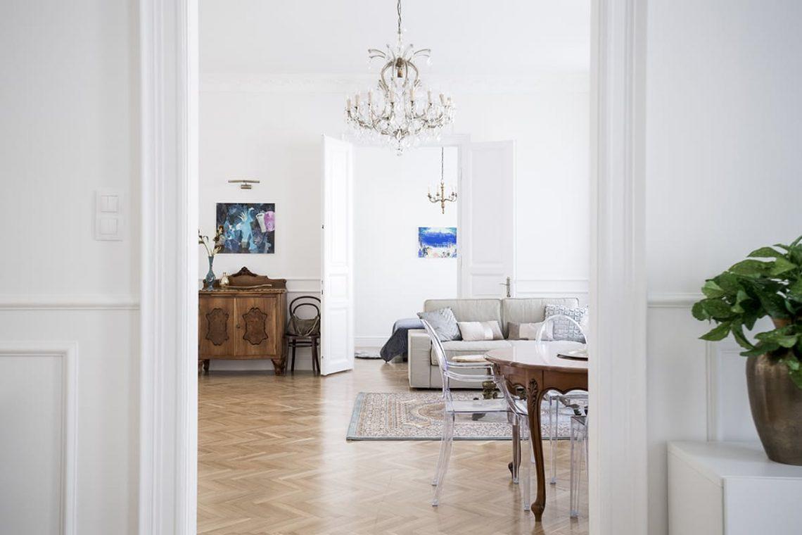 Parisian French interior decor white elegant bedroom living room crystal chandelier