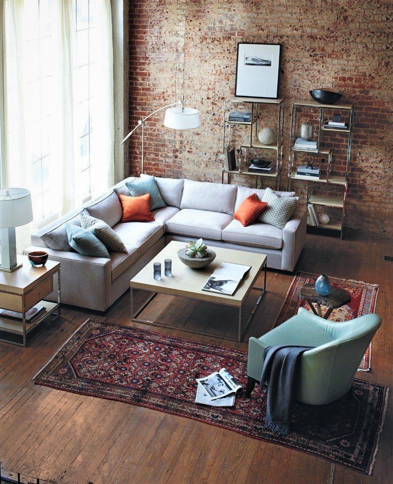 persian rug, industrial interior, modern living room, brick wall interior
