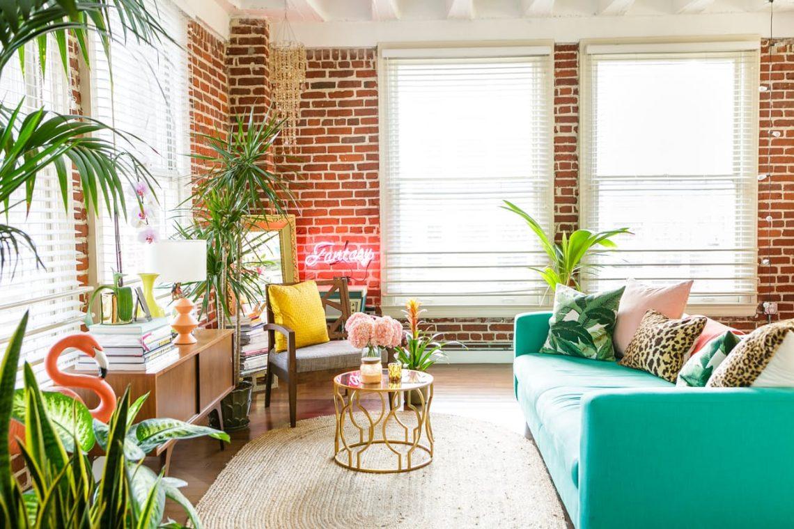 tropical decor interior brick wall interior decor trends 2017 palms interior plants decor