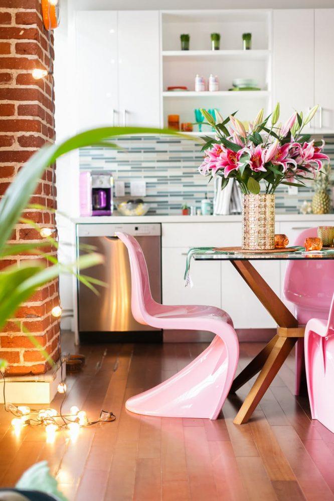 brick wall dining room interior decor trends tropical palms