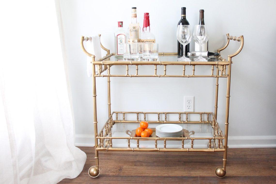 bar cart elegant modern interior decor, elegant living room, abstract painting, art in living room, glamour interior