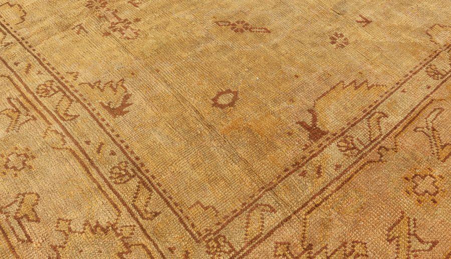 Antique Turkish Oushak Sandy Beige and Light Brown Handwoven Wool Rug BB6392