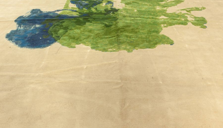Abstract Green and Blue Colordrop Hand Knotted Wool Rug N11576