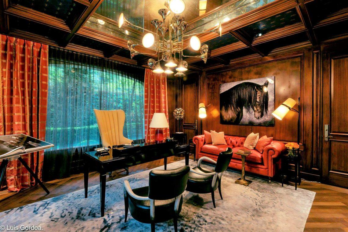 Juan Carretero interior design doris leslie blau contemporary rug, home library