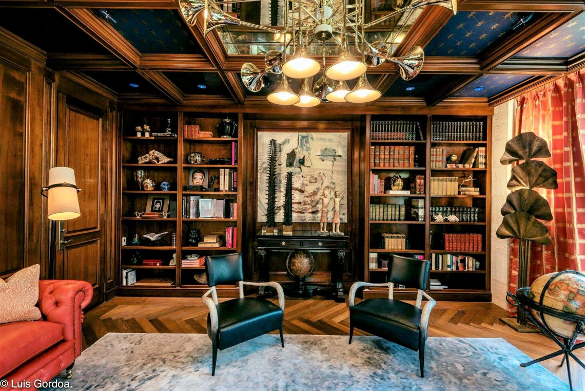 Home library designed with Doris Leslie Blau rug