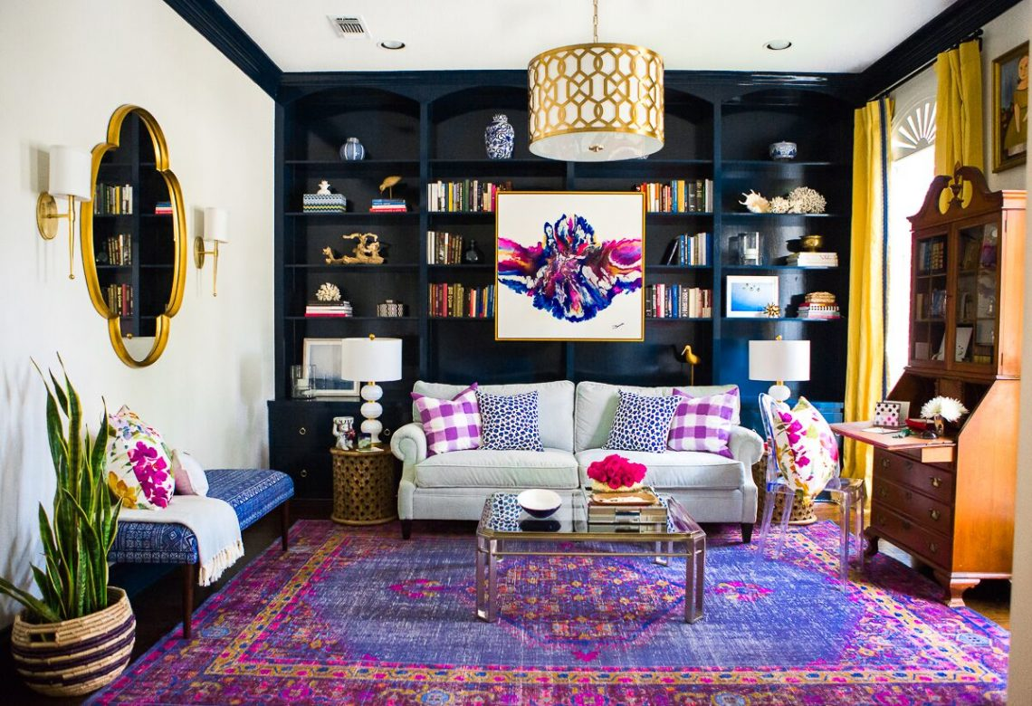 colorful interior, colorful living room, interior decorating, decorating with color, color palette, hollywood regency