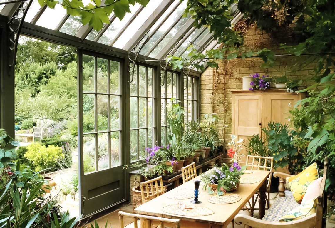 orangery, spring interior, indoor plants, english house