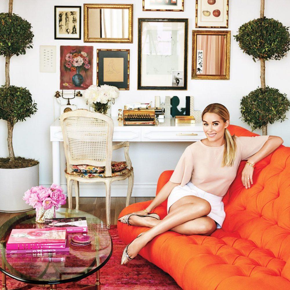 colorful interior, colorful living room, interior decorating, decorating with color, color palette, orange interior