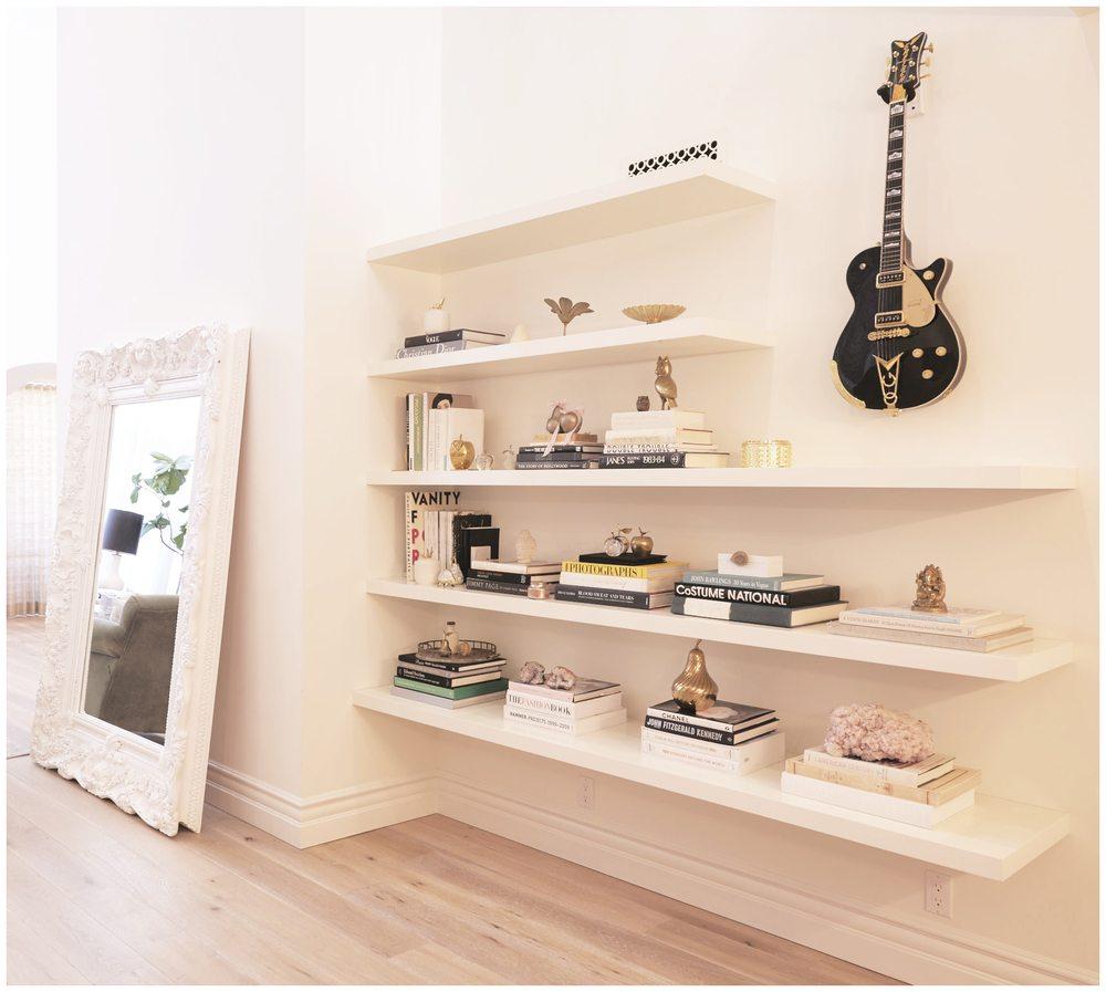 lauren conrad interior decor, white interior, white shelves, elegant interior decor