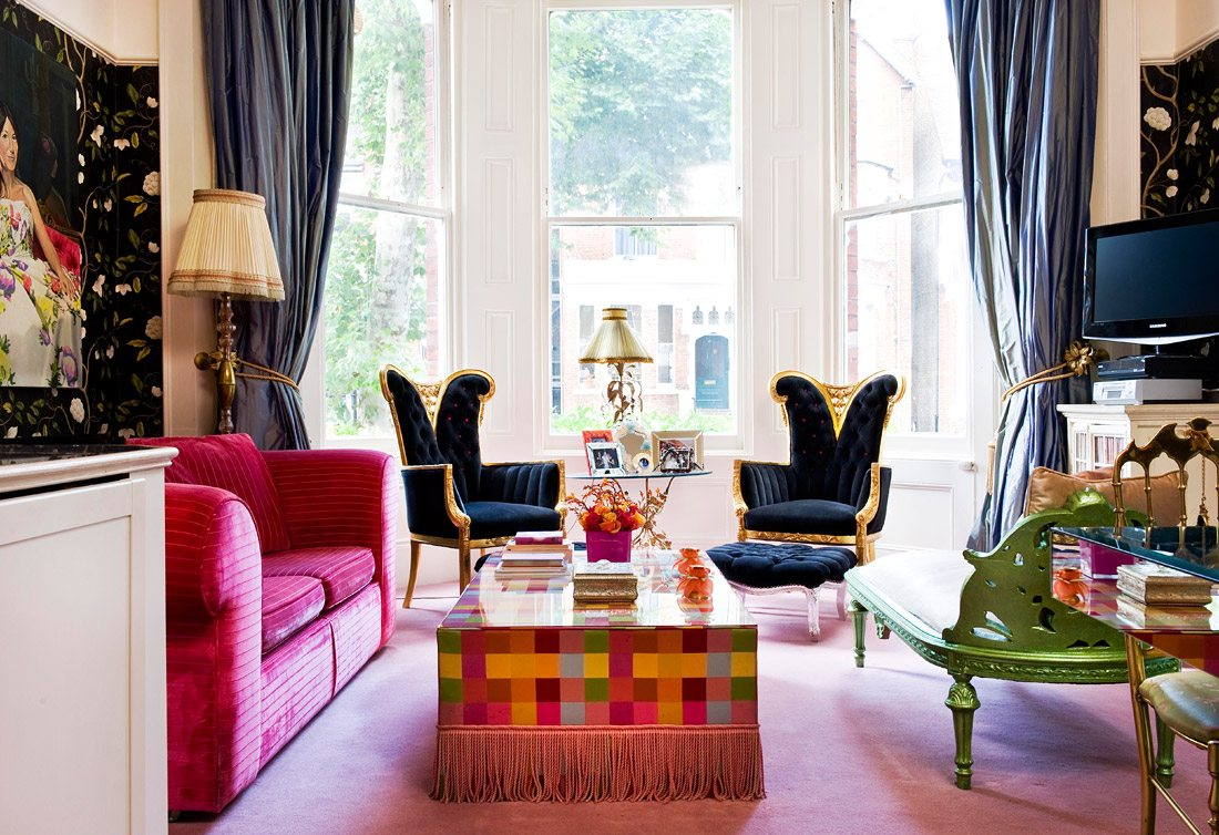 colorful living room, glamour living room, elegant living room, eclectic interior, pantone spring 2017, colorful interior. interior decorating with color