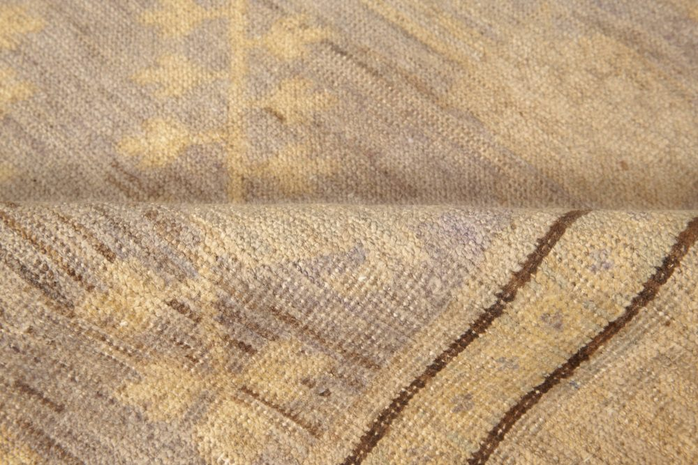 Samarkand Design Orchid, Sandy Beige & Brown Chocolate Wool Rug N11611