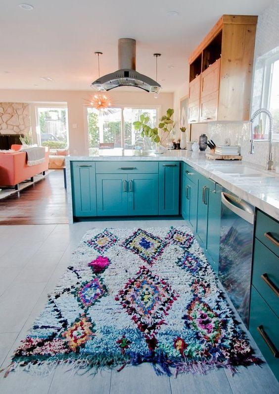 Boucherouite rugs, moroccan rug in the kitchen, boho rug