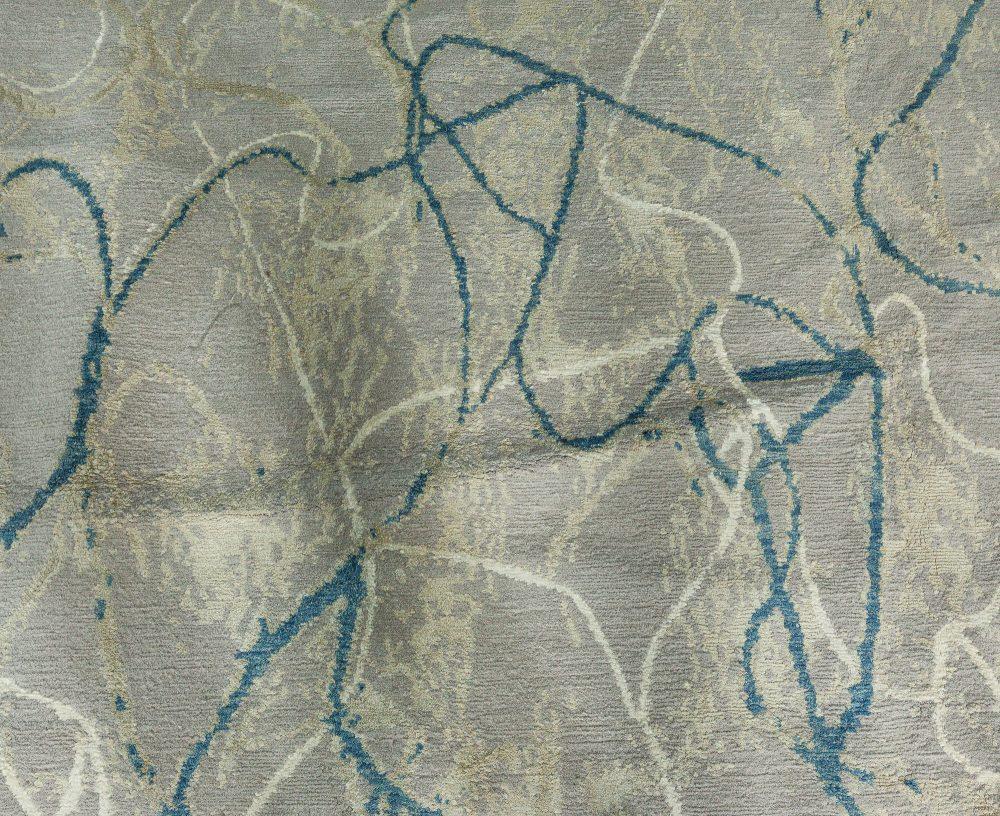 Ink Ondulations Rug in Silk & Wool N11609