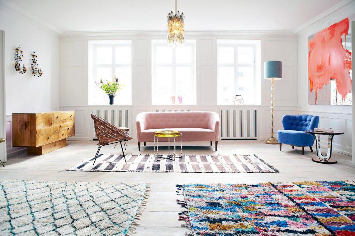 moroccan vintage rugs in scandinavian modern living room
