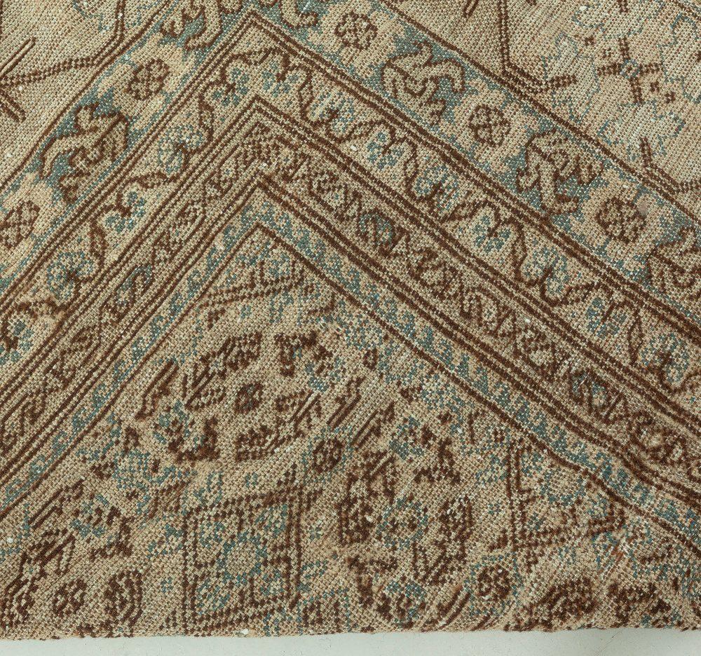 Midcentury Samarkand Chocolate Brown and Beige Handwoven Wool Rug BB6429