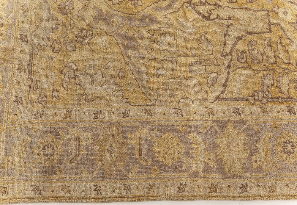 Traditional Oriental Inspired Yellow Hand Knotted Wool Rug N11648