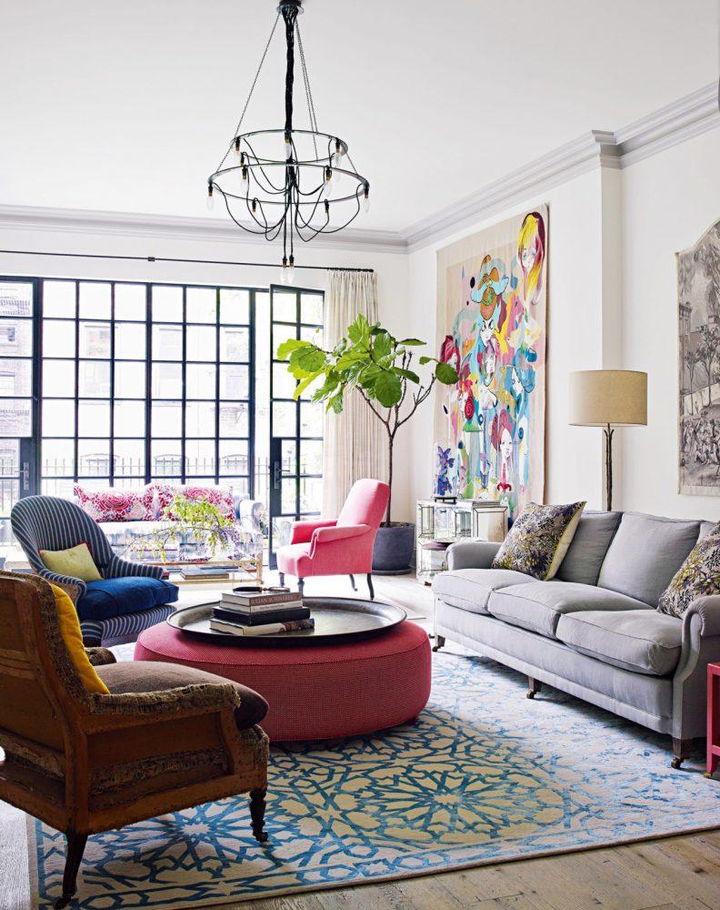 colorful-living-room-art-wall