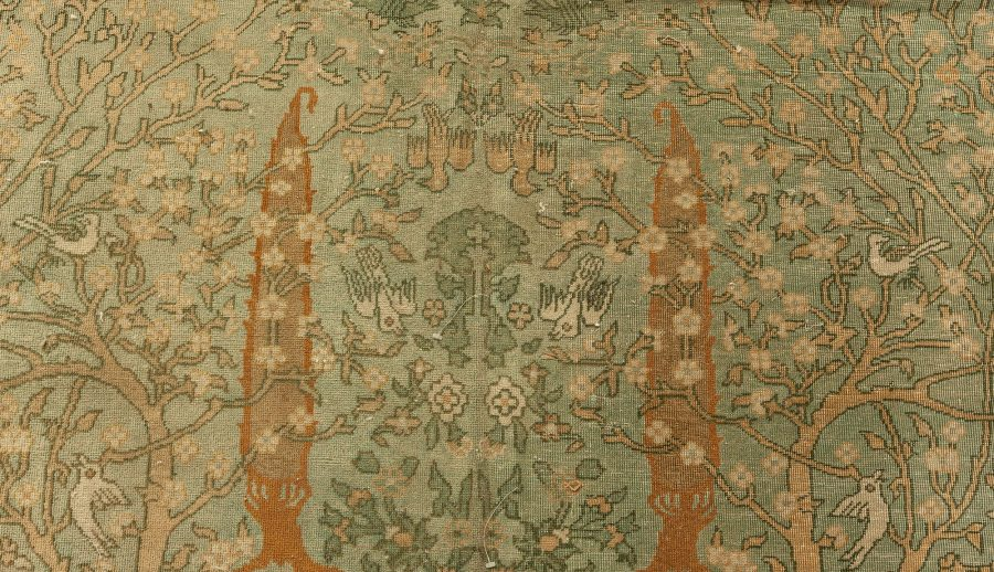 Indian Light Gray, Caramel, Beige, Ivory and Brown Wool Rug BB6463