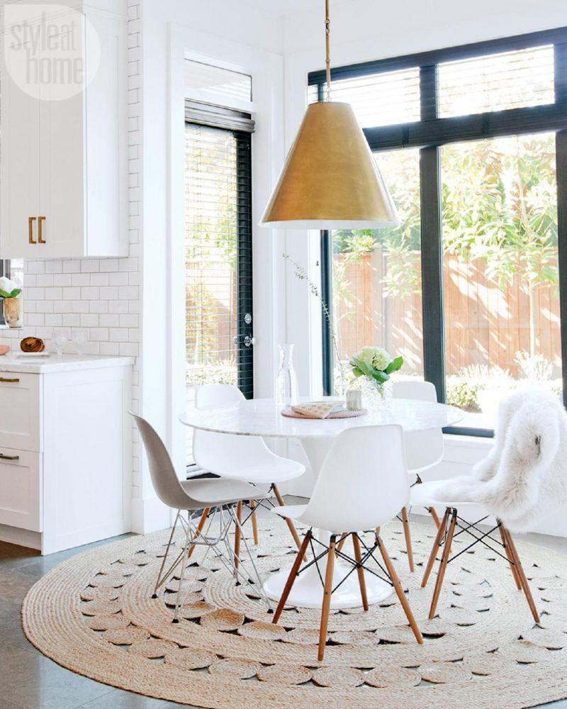 Recanto de jantar, recanto de café da manhã, decoração da sala de jantar. Sala de jantar escandinava