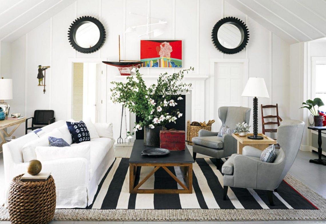striped in living room, colorful rug, elegant interior rug