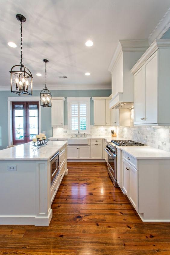 blue-kitchen-cabinets-stardew-sherwin-williams-paint color
