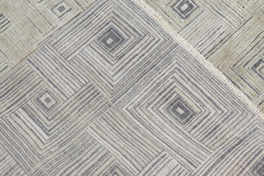 Contemporary Geometric Maze Hand Knotted Silk Rug N11663