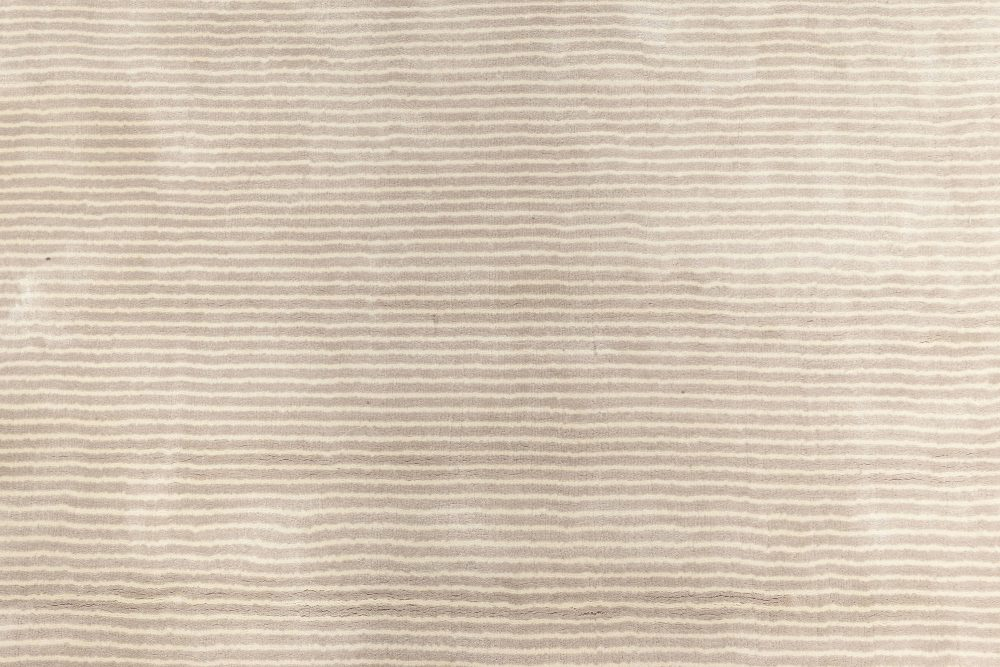 Contemporary Striped Silver Gray and Lilac Hand Knotted Silk Rug N11689