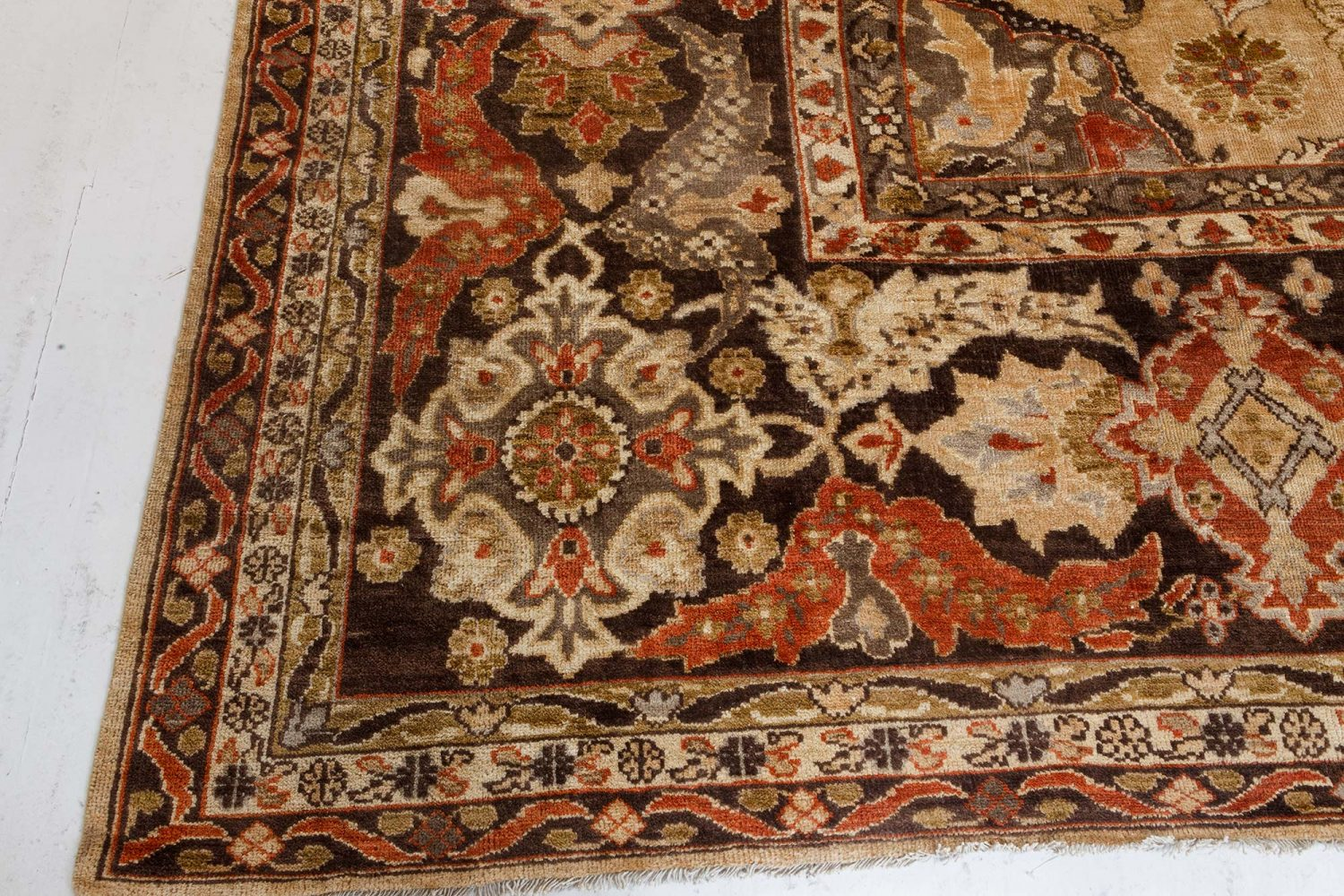 Antique Persian Sultanabad Multi-Color Handwoven Wool Rug BB7202