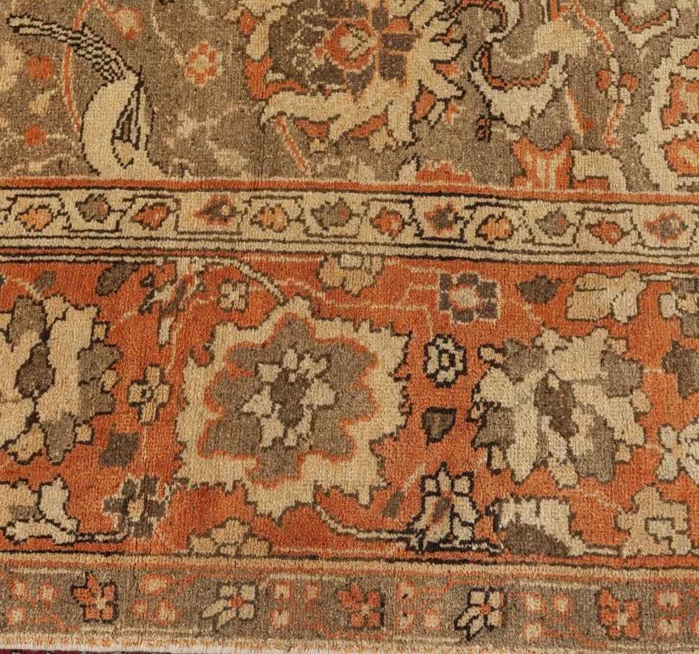 19th Century Indian Amritsar Brown, Beige & Salmon Wool Rug BB6675