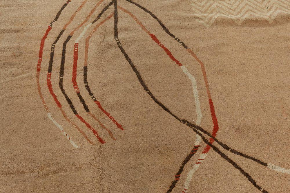 Vintage Art Deco Camel, Beige & Brown Handwoven Wool Rug BB6753