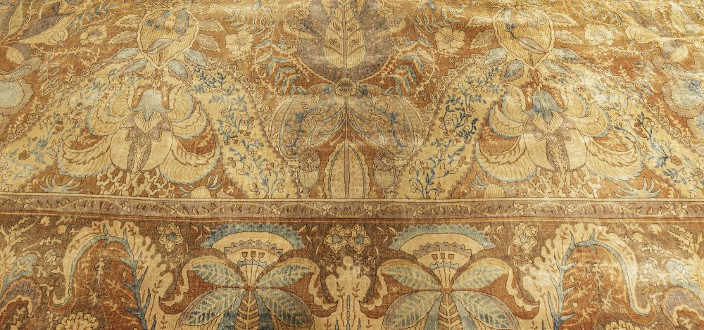 Antique Indian Bold, Floral, Brown, Blue and Gray Rug BB7179