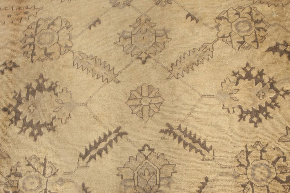 Antique Turkish Oushak Camel and Taupe Handwoven Wool Carpet BB6681