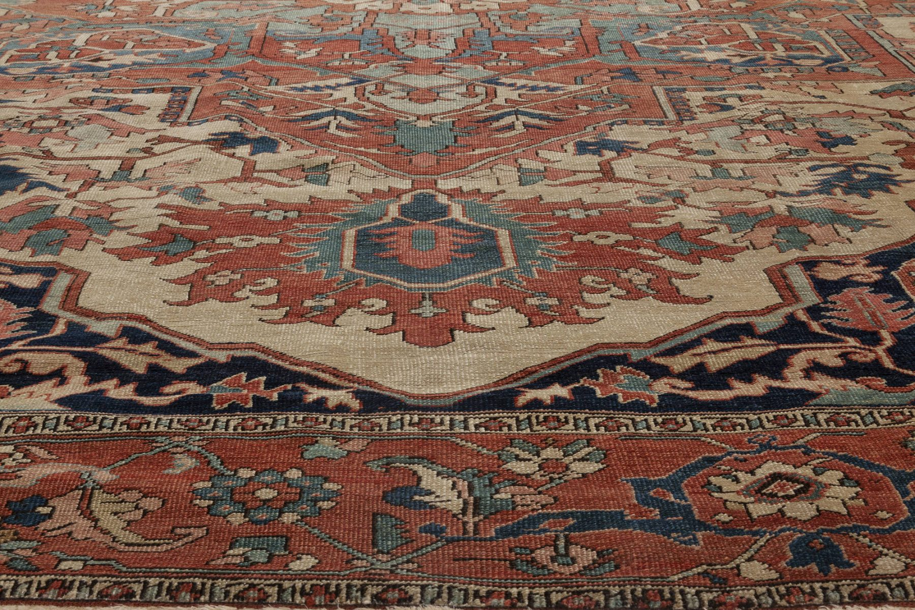 Rusty, Beige, Pale Green and Brown Persian Heriz Carpet BB6847