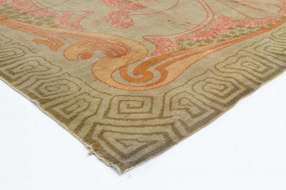 Vintage Viennese Art Nouveau Pale Rose and Dusty Orange Carpet BB6644