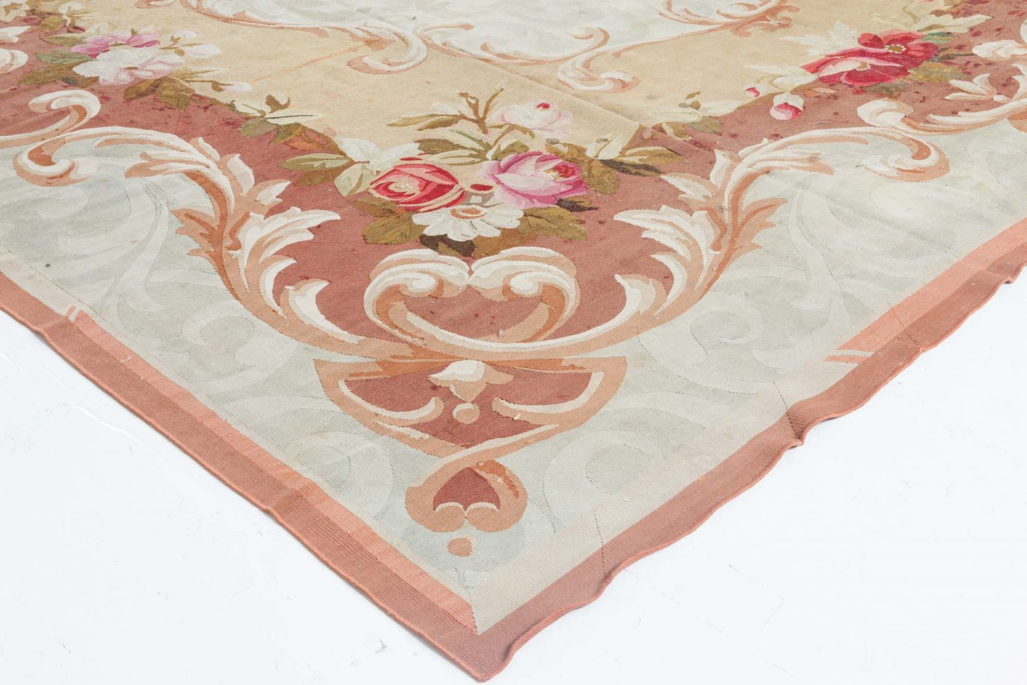 Antique French Aubusson Floral Handwoven Wool Rug BB6646