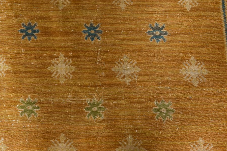 Vintage Spanish Light Brown and Blue Handwoven Wool Rug BB6802