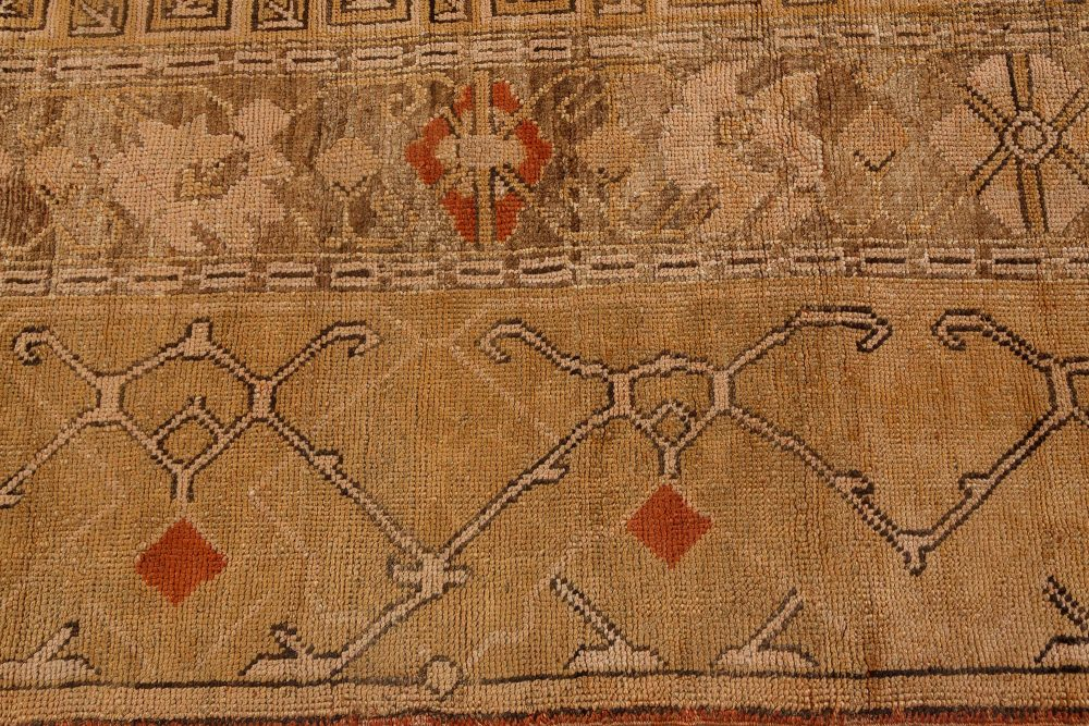 Antique Turkish Oushak Brown and Beige Handwoven Wool Rug BB7168