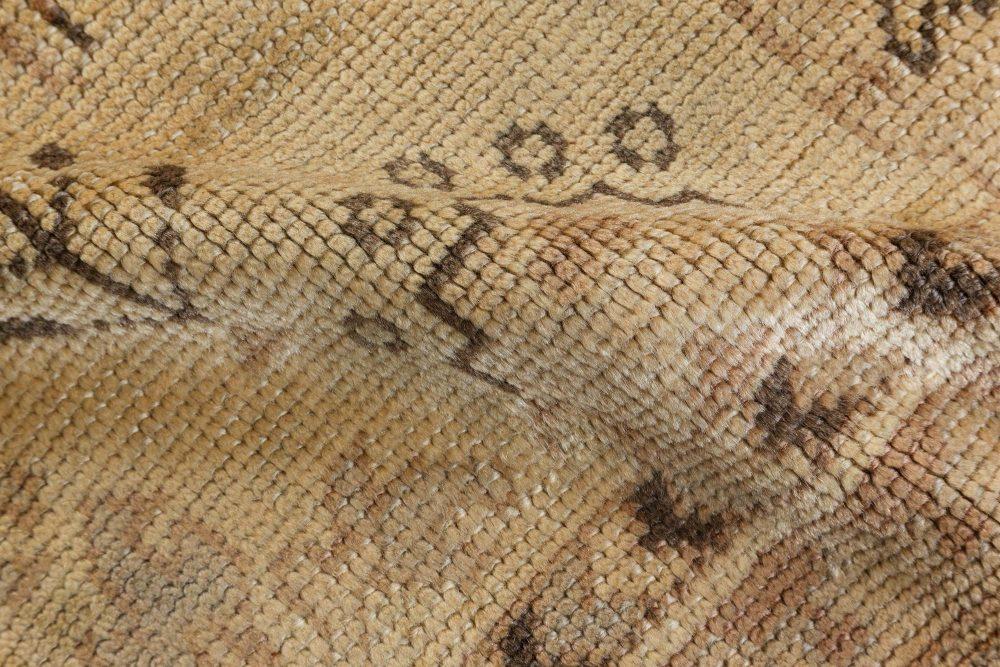 Oversized Vintage Turkish Oushak Taupe Floral Handwoven Wool Rug BB7186