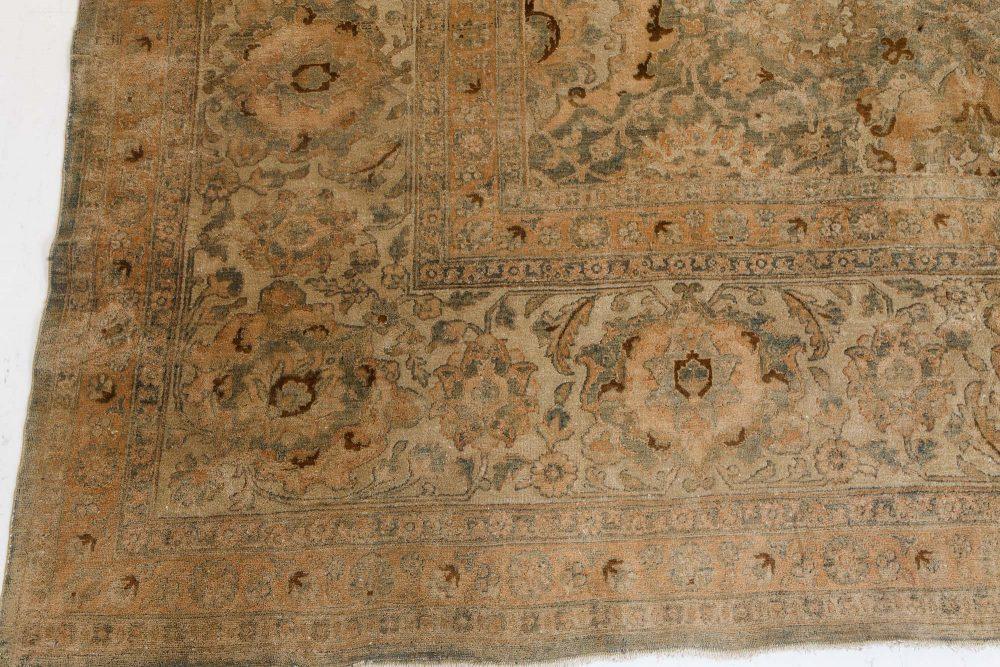 Antique Indian Botanic Handwoven Wool Rug BB7206