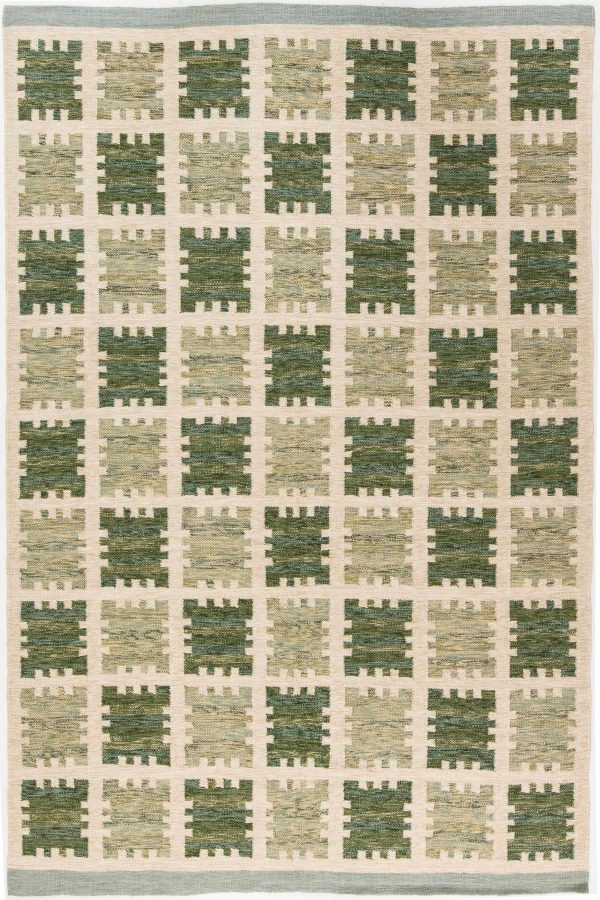modern rug in sage color