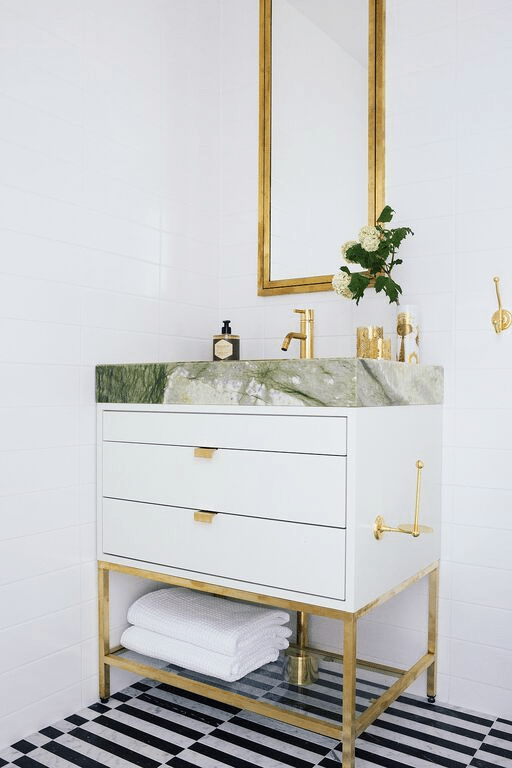 green marble sink