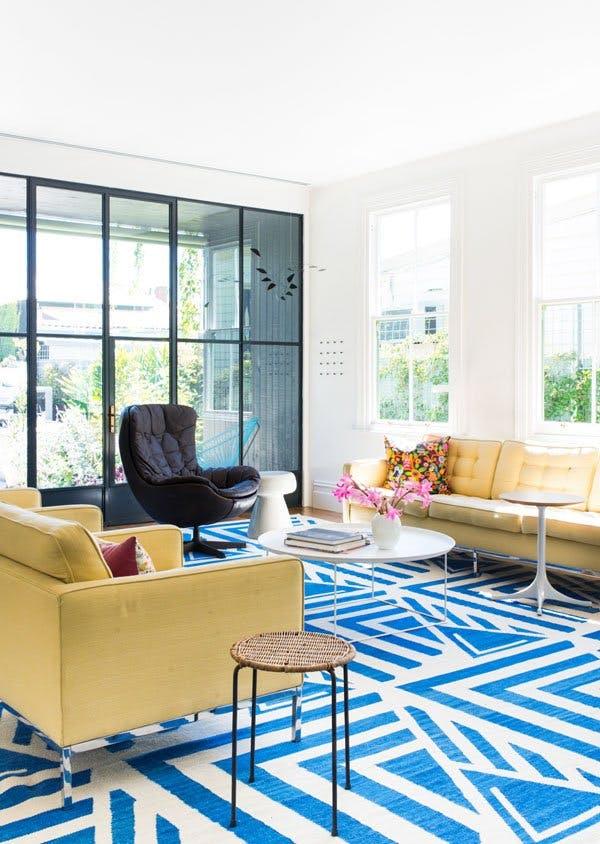 statement rug in living room, geometric rug, bold rug