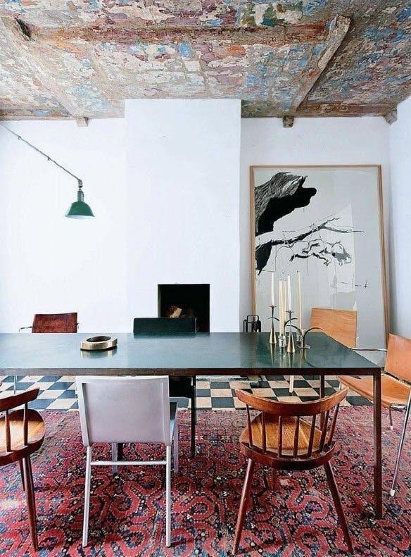 statement rugs, oriental kilim rug in dining room