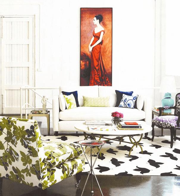 modern rug in living room, mid century modern rug, statement rugs
