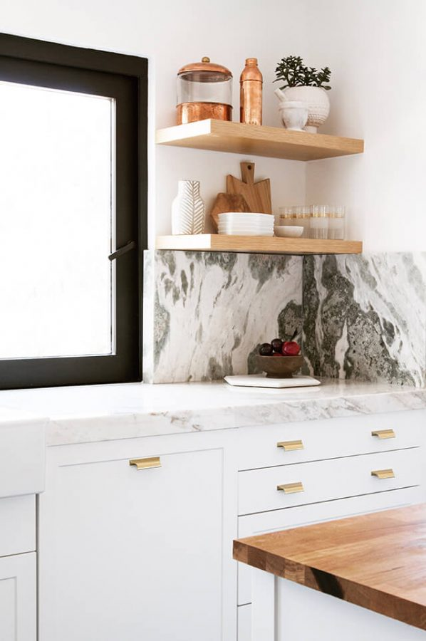 veined marble in the kitchen
