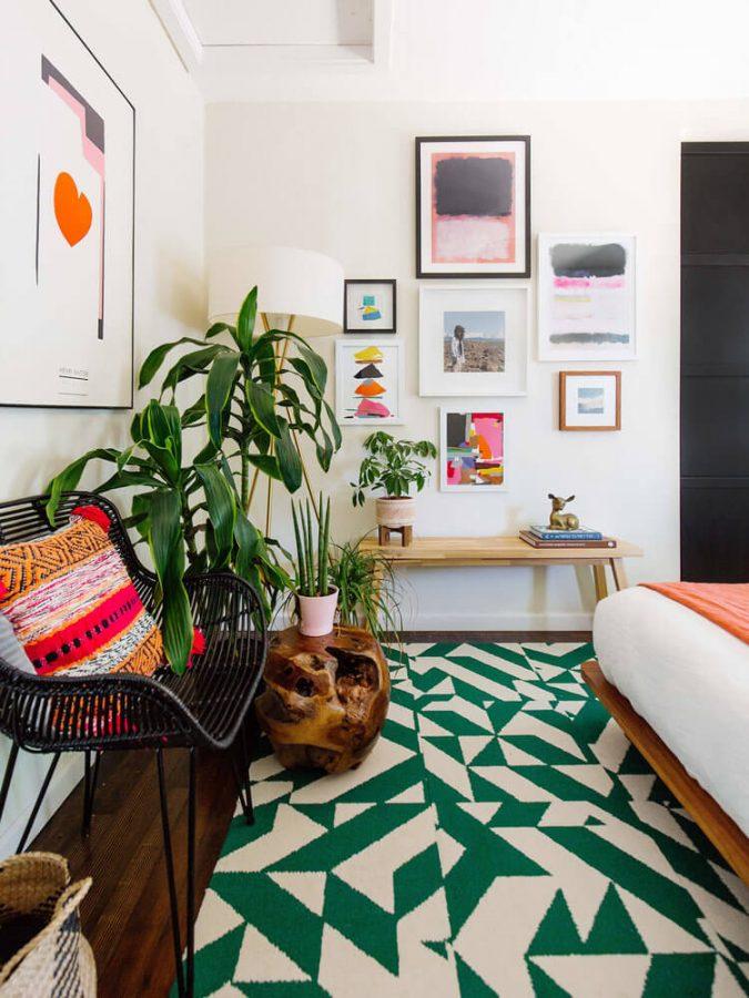 statement rug in living room, modern geometric rug in living room