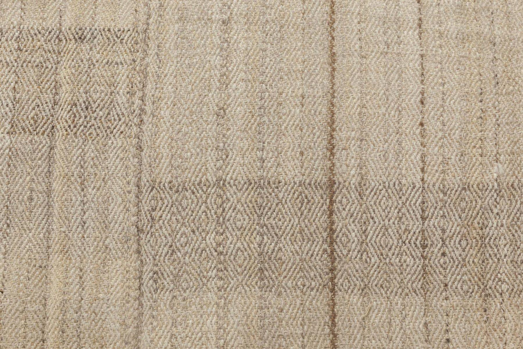 Persian Mazandaran Hand Knotted Wool Kilim Rug in Sandy Beige Shade BB6439