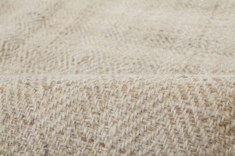 Persian Mazandaran Hand Knotted Wool Kilim Rug in Sandy Beige Shade BB6422