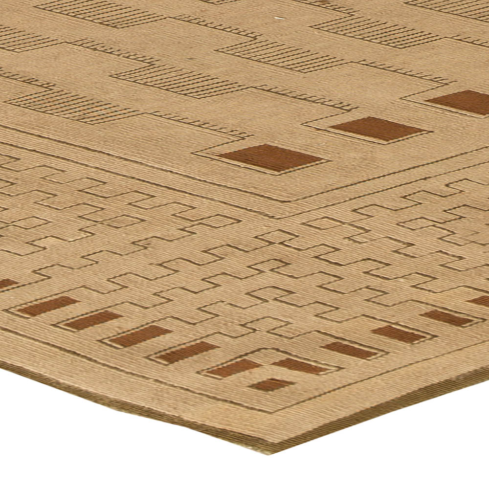 Aubusson Arthur Dunnam Beige and Brown Hand Knotted Wool Rug N11314
