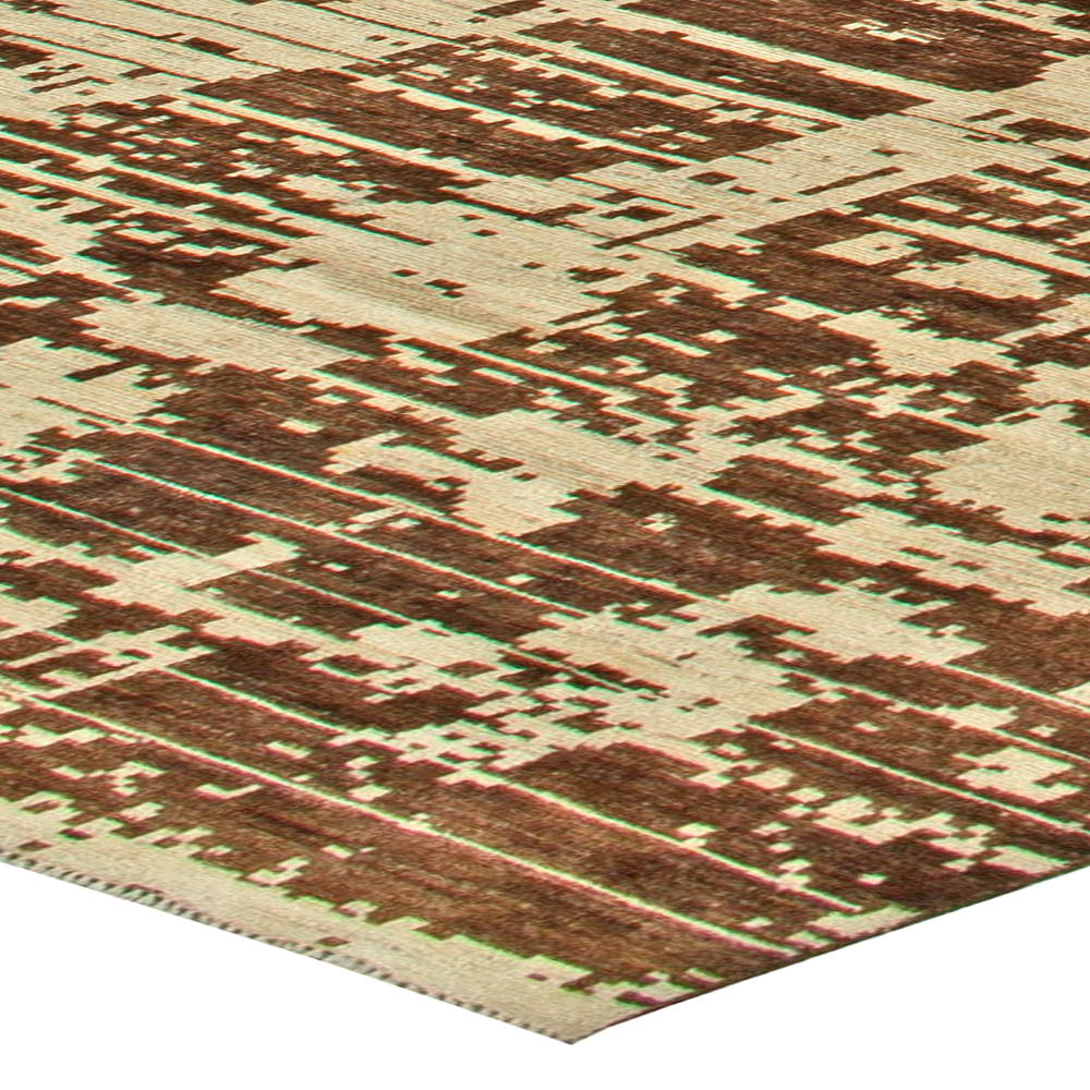 Anatolia Traditional Deep Brown and Creamy Beige Hand Knotted Rug N11141